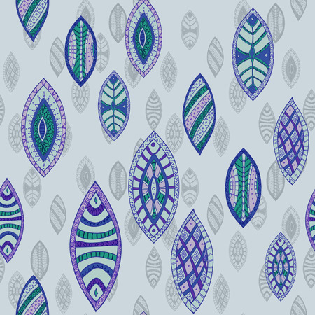 Hand drawn seamless vector abstract ethnic pattern with ornamental foliage  Vector