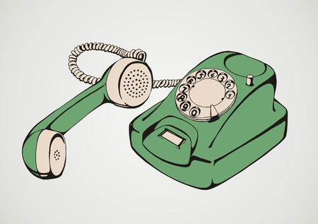 Vintage green telephone Vector