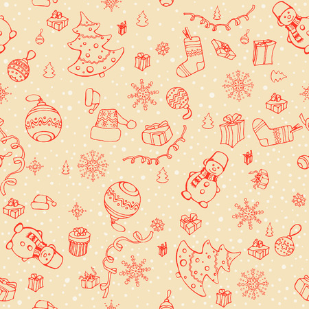 Hand drawn vector seamless Christmas elements pattern. Winter theme. Vector