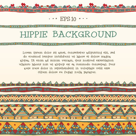 Hand drawn vector seamless abstract hippie background. Bright ethnic lines. Vector