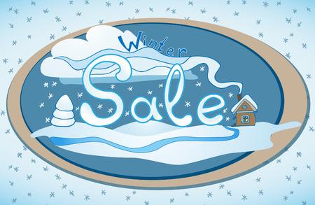 lable: Vector hand drawn winter sale lable illustration. Hand lettering and doodles elements for your design. Winter evening landscape Illustration