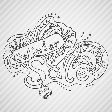 Vector hand drawn winter sale lable illustration. Hand lettering and doodles elements for your design. Vector