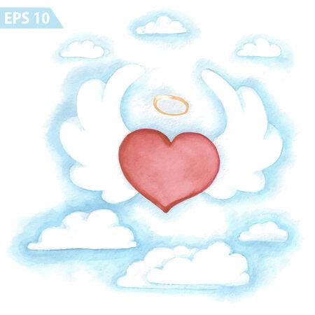 wings angel: Acquerello vettore volare cuore con le ali