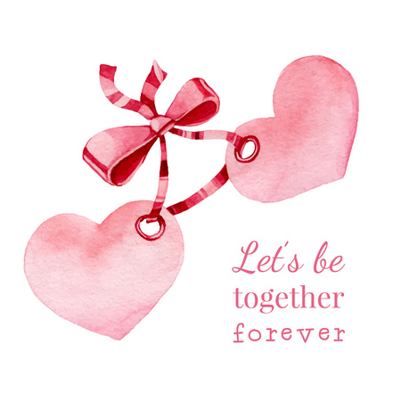 Hand drawn watercolor painted  hearts with ribbon. Vector element for your design Vector