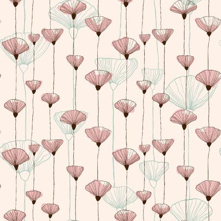 穏やかな手描画シームレスな抽象的なビンテージ花模様。  イラスト・ベクター素材