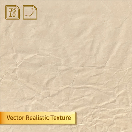 Crumpled paper sheet. Wrapping-paper texture. Realistic vector texture for your design.