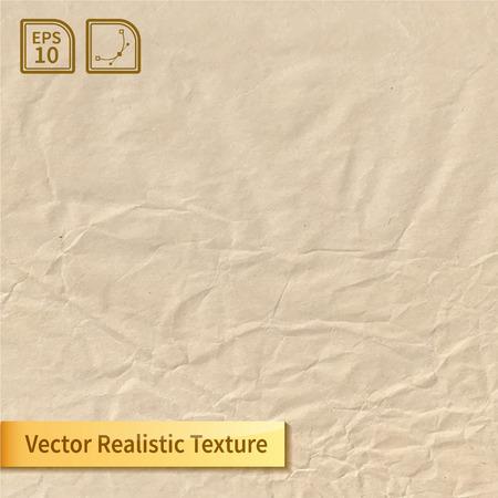 구겨진 종이 시트. 포장 종이 질감. 디자인을위한 현실적인 벡터 텍스처.