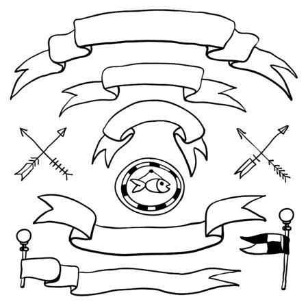 scrap trade: Vector disegnati a mano nastri impostati in stile retr�. Elementi di design. Etichette, cartellini.