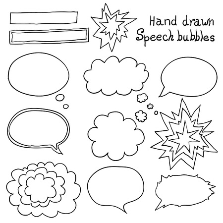 Vector hand drawn speech bubbles set. Design elements. Vector