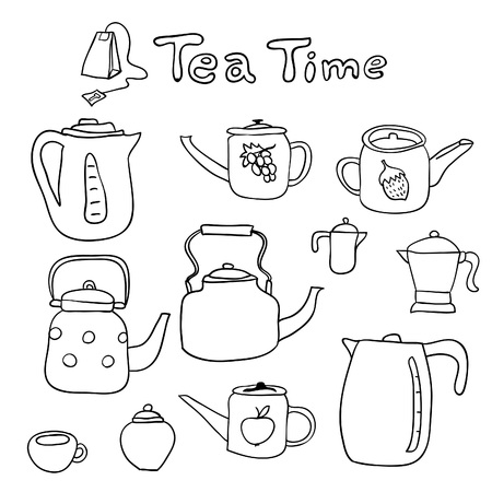 sugarbowl: Vector hand drawn set of doodle teapots.