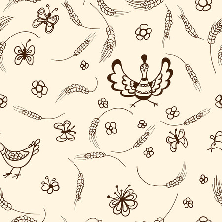 reaping: Vector hand drawn seamless country pattern.