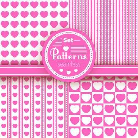 hearts background: Vector vintage seamless patterns set