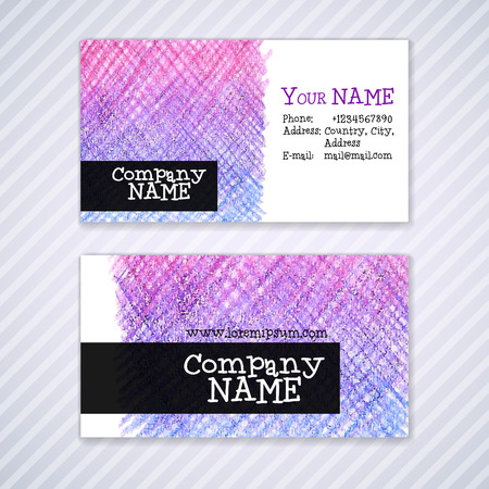 pencil texture: Vector business card template with watercolor pencil texture