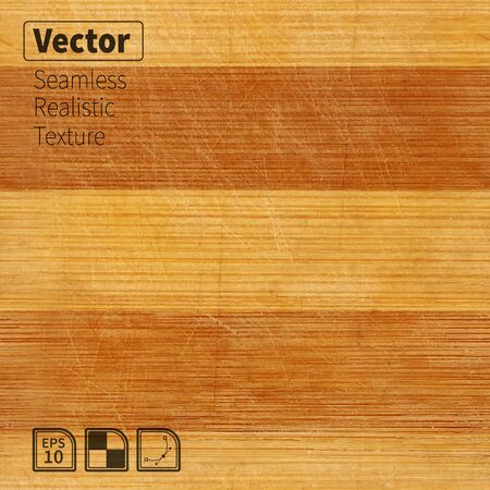Vector seamless bamboo wood scratched board realistic texture. Striped photo texture for your design