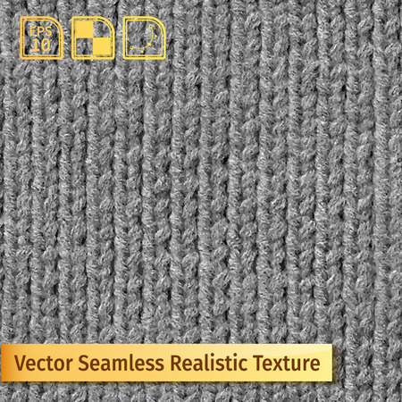 stockinet: Vector seamless gray knitting texture. Realistic photo texture for your drsign