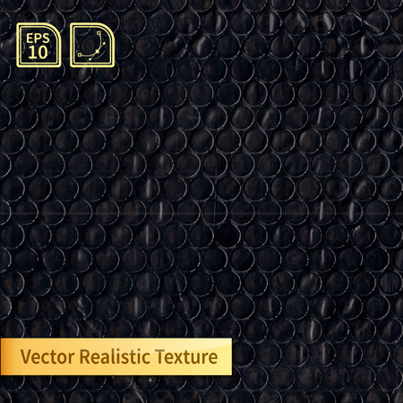 polyethylene film: Vector black bubble wrap texture. Photo realistic texture for your design Illustration