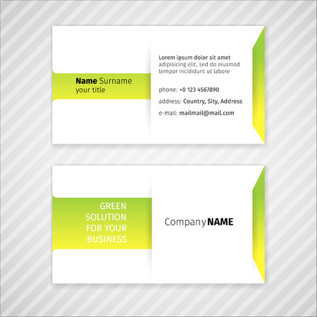 tehnology: Vector modern simple light business card template in green colors