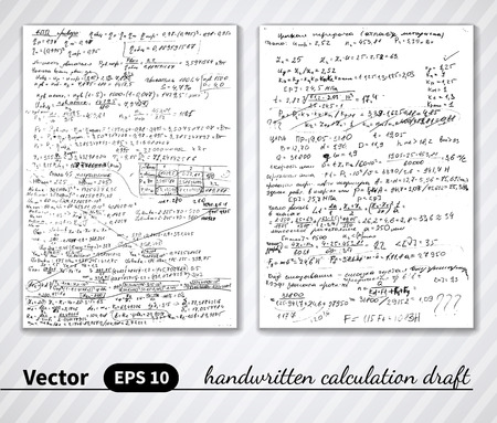 engeneering: Vector handwritten pages of draft calculations