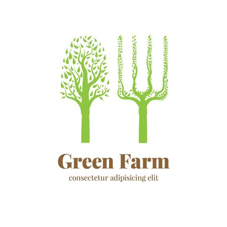 agricultural: Vector green sign for agricultural businesses Stock Photo