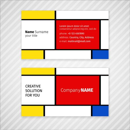 sixties: Vector minimalistic business card template in the style of the sixties