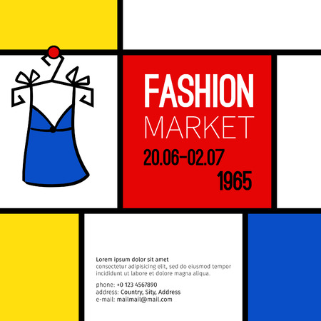 sixties: Vector fashion market flyer in the style of the sixties