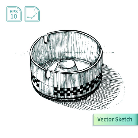 ashtray: Vector ashtray sketch. Illustration for your design Illustration