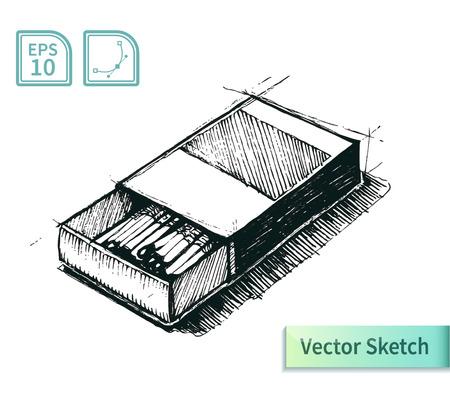 matchbox: Vector matchbox sketch. Illustration for your design