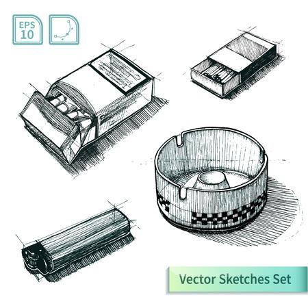 ashtray: Vector cigarette sketch set. Illustration for your design Illustration