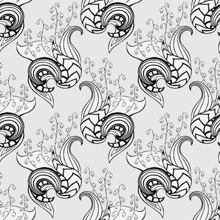 lily flowers: Vector seamless floral pattern with lilies of the valley in silver colors Illustration