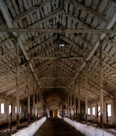 wooden  ceiling: Interior of abandoned barn with beautiful wooden ceiling. Stock Photo