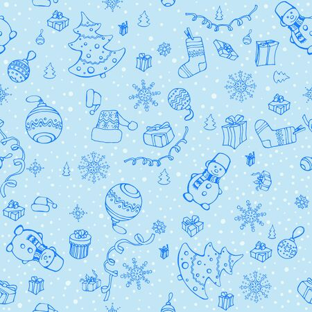 fabric textures: Hand drawn seamless Christmas elements pattern. Winter theme. Seamless pattern can be used for wallpaper, pattern fills, web page background, surface and fabric textures.