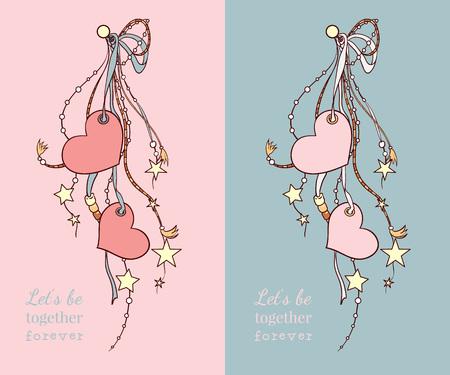 心と 2 つの色のリボンで幸せなバレンタインデーのベクトル カード。
