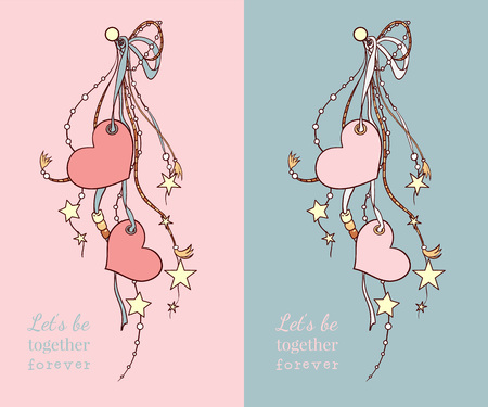 Happy valentines day vector cards with hearts and ribbons in two colors.
