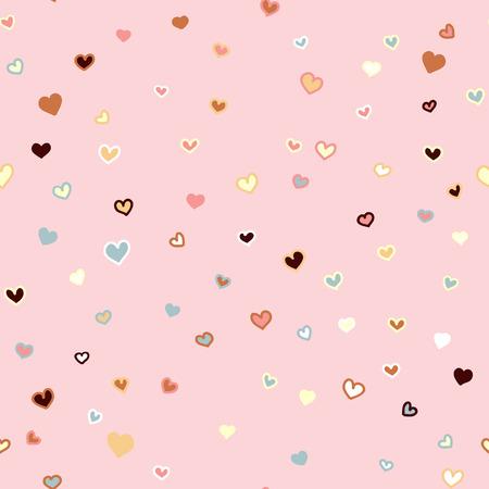 乙女チックなピンクのシームレスなベクトル心バレンタインデーの背景で描かれたパターンを手