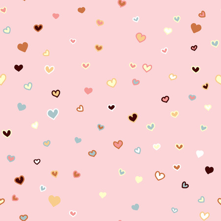 Girly pink seamless vector hand drawn pattern with hearts Valentines day background Çizim