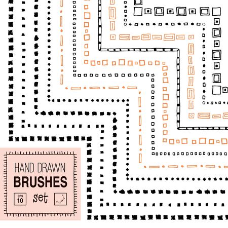 Vector hand drawn square ornamental brushes set.