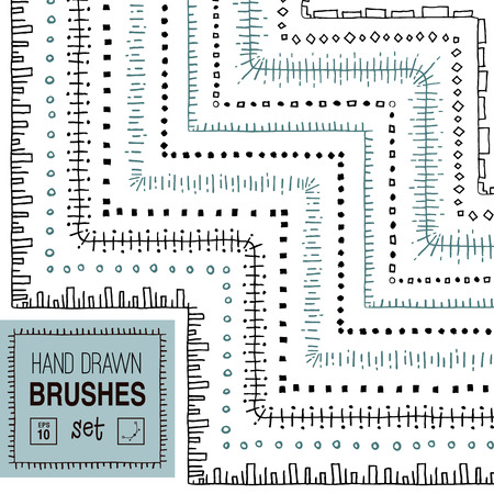 Vector hand drawn striped ornamental brushes set.