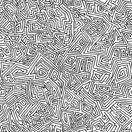 シームレスな手直線から描画迷路。あなたの設計のための最小限の背景  イラスト・ベクター素材