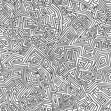 Seamless hand drawn maze from straight lines. Minimalistic background for your design Çizim