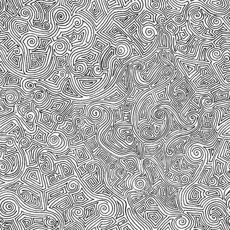 Seamless hand drawn maze from curved lines. Minimalistic background for your design