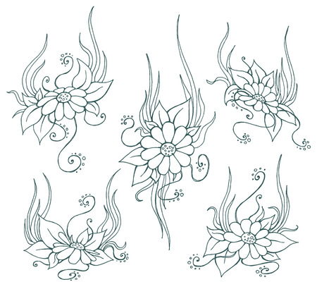 hand drawn sketch chamomile illustrations set.  Lineart floral elements for your design Çizim