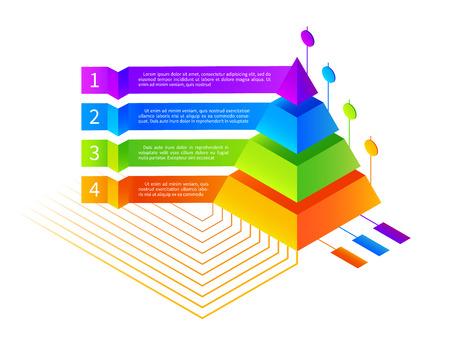 等尺性のインフォ グラフィックはピラミッドの図です。