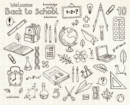 sketches set of school items.