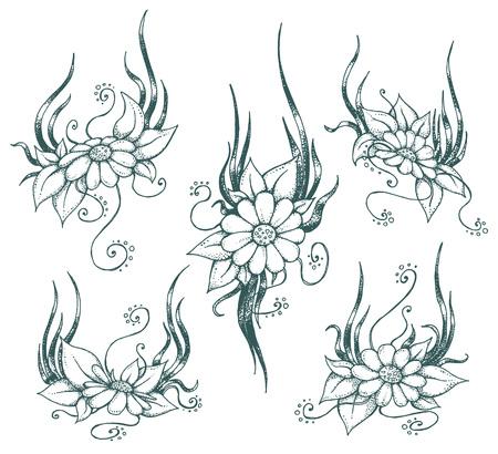 カモミールのイラスト セット。あなたのデザインのビンテージ花柄要素