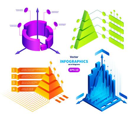 等尺性インフォ グラフィック イラスト セット。  イラスト・ベクター素材