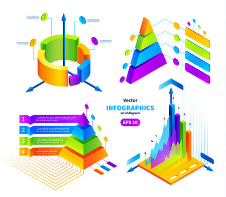 Vector isometric colorful infographics illustrations set.