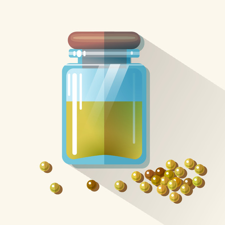 Vector glass jar with mustard.