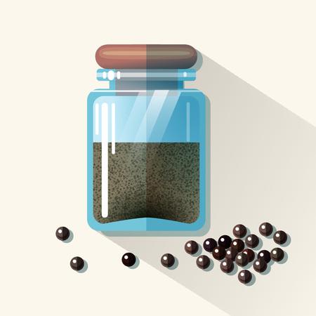 黒胡椒ベクトル ガラス瓶。