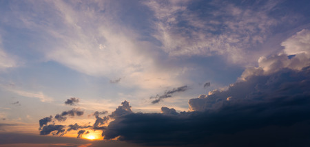Gorgeous evening cloudscape. Sunset background 스톡 콘텐츠