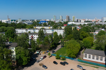 Summer Minsk cityscape with parking.